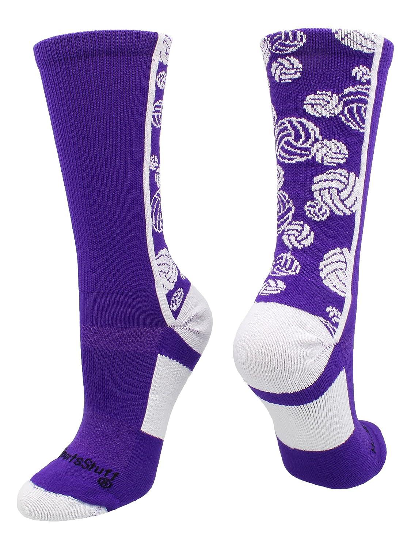 Multiple Colors MadSportsStuff Crazy Volleyball Logo Crew Socks