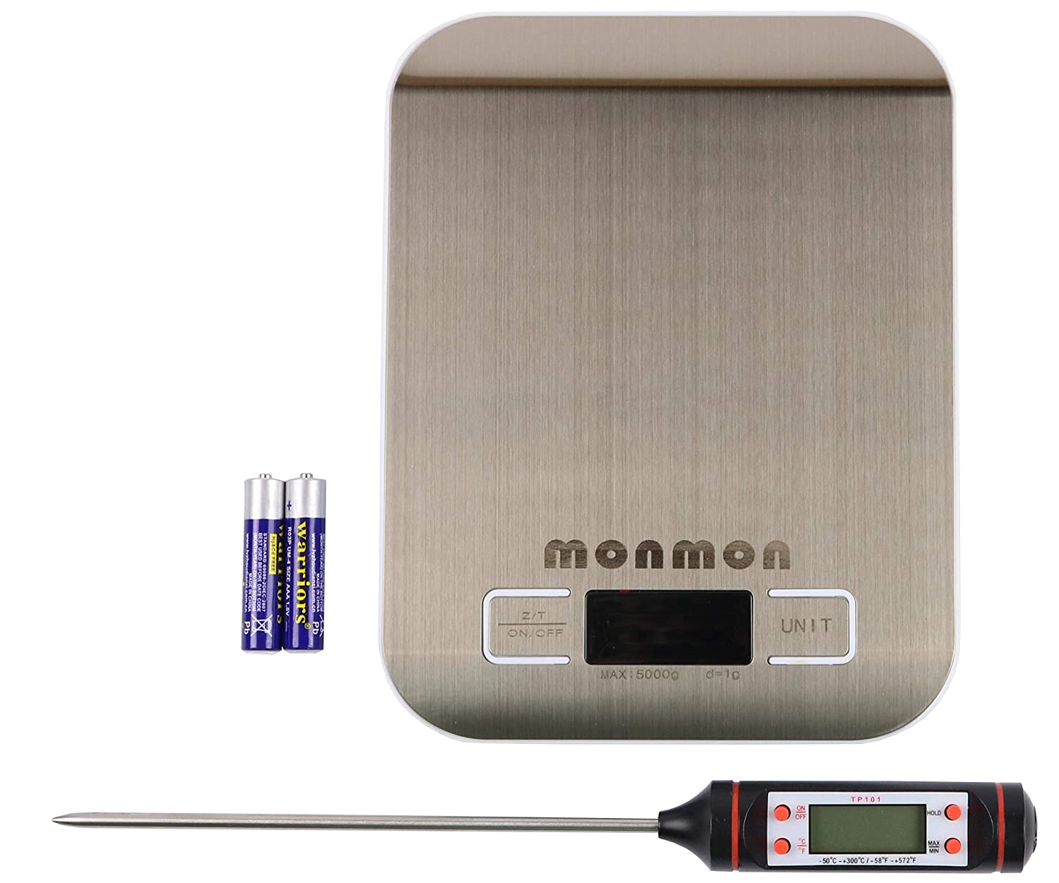 MonMon Digital Kitchen Scale with LCD Display,Stainless Steel Platform (5kg/11lb), with Bonus Digital Food Cooking Thermometer (Batteries Included). Designed for Cooking, Baking, Meal prep