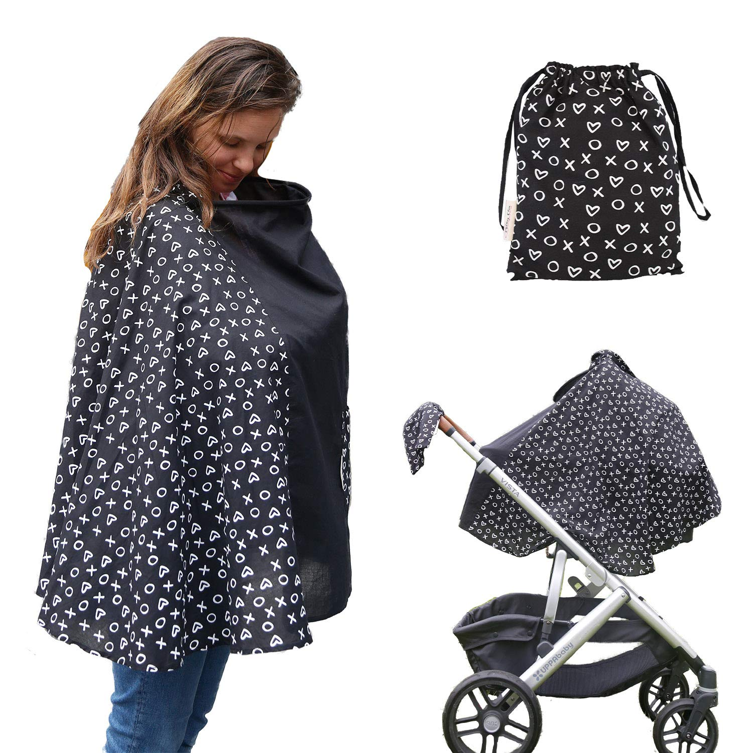 Milky Chic Nursing and Breastfeeding Poncho - Patent Pending 360 Full Coverage Wired Nursing Cover and Apron - Breathable, Soft Cotton - Carseat, Stroller Canopy - Multifunctional Baby Shower Gifts by Milky Chic