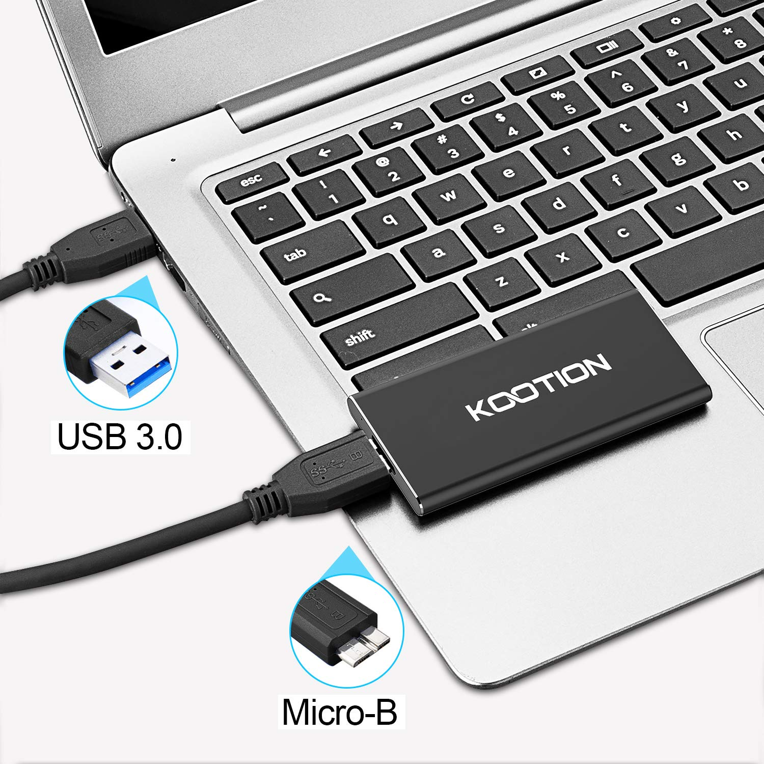 KOOTION 60GB Portable External SSD USB 3.0 High Speed Read & Write up to 400MB/s&300MB/s External Storage Ultra-Slim Solid State Drive for PC, Desktop, Laptop, MacBook by KOOTION (Image #3)