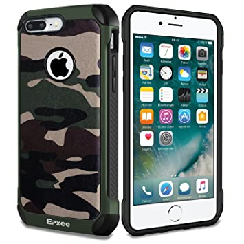 Epxee Funda iPhone 7 Plus, Silicona [Shock-Absorción] Case Carcasa para Apple iPhone 7 Plus (Camuflado-001)
