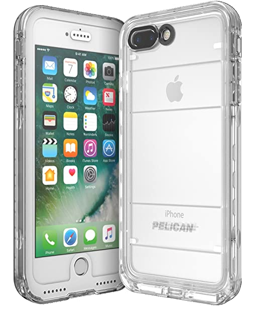 best loved 2b486 c66ac Pelican Marine Waterproof iPhone 7 Plus Case (White/Clear)