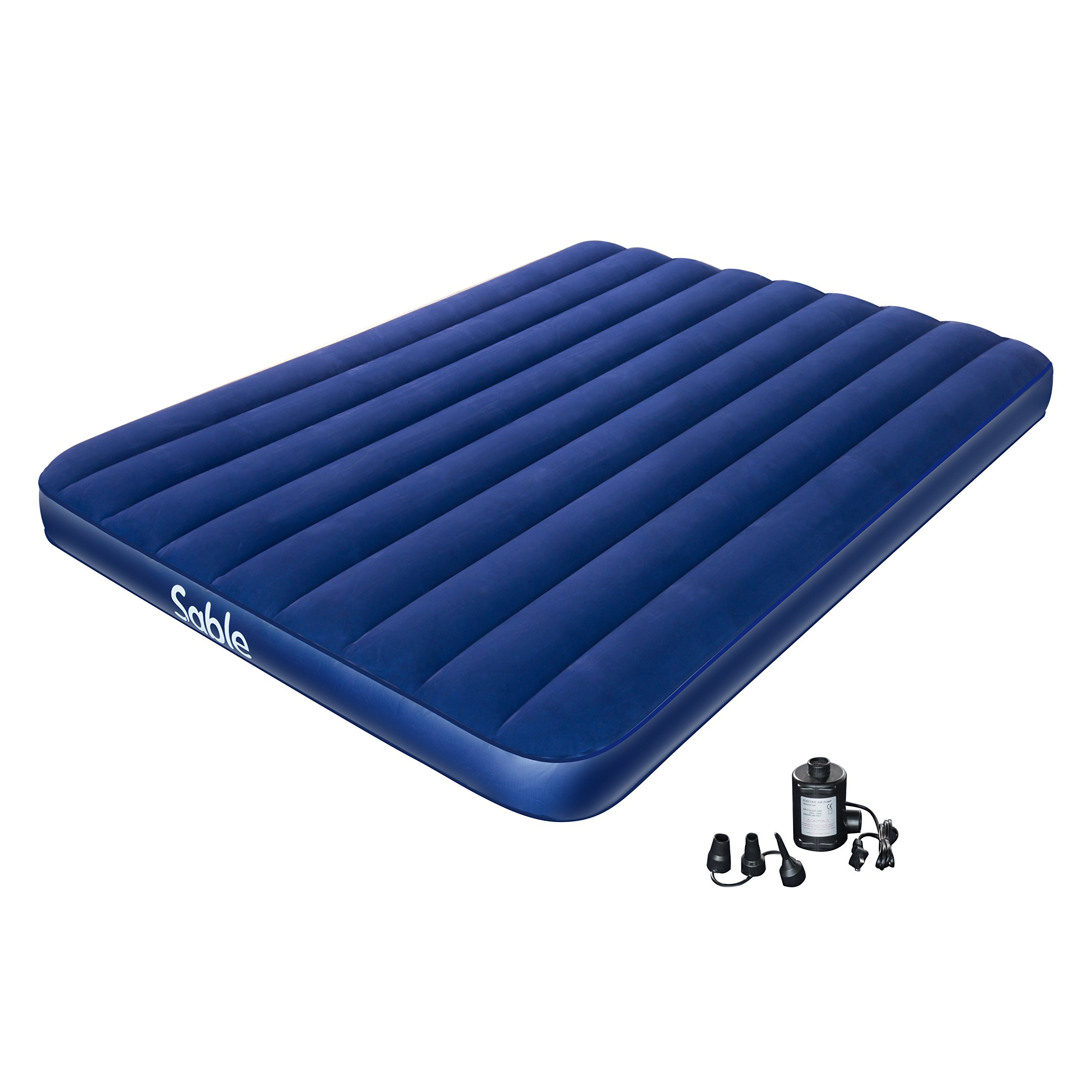 Sable Camping Air Mattress with Electric Air Pump, Upgraded Inflatable Air Bed Blow up Bed for Car Tent Camping Hiking Backpacking, Height 8 inches, Queen Size