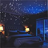 LIDERSTAR Glow In The Dark Stars Wall Stickers,252 Adhesive Dots and Moon for Starry Sky, Perfect For Kids Bedding Room…