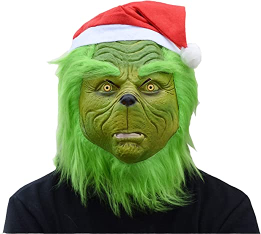 Adult The Grinch Mouth Mover Christmas Halloween Dr Seuss Costume Fuzzy Mask