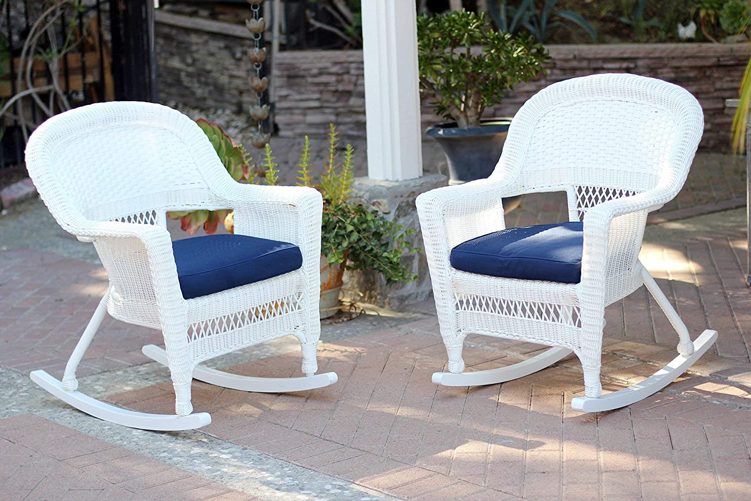 Jeco Rocker Wicker Chair with Blue Cushion, Set of 2, White