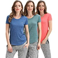LIFINAIS Gym Shirts for Women- Fitness Athletic Yoga Tops Exercise Gym Shirts Running Workout Shirts (Pack of 3)