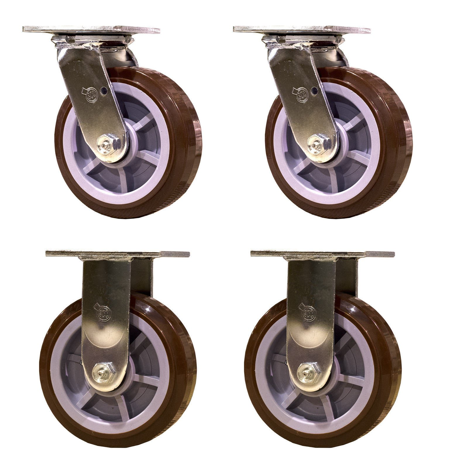 Service Caster SCC-30CS620-PPUR-2-R620-2 Heavy Duty Casters Polyurethane Wheel, Swivel and Rigid Non-Marking, 6'' Size (Pack of 4)