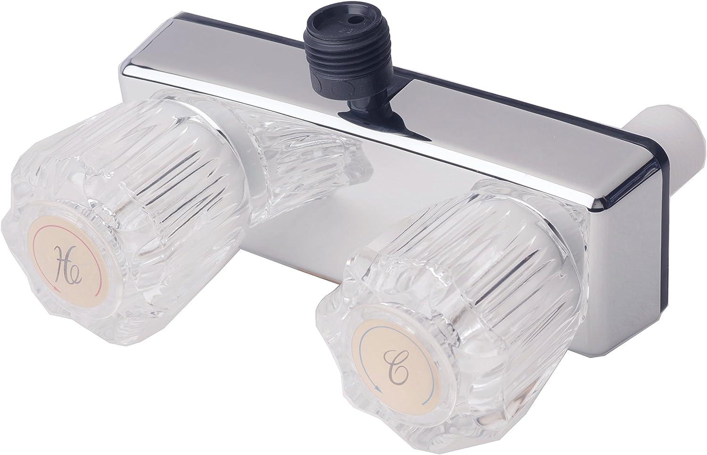 Builders Shoppe 3220ACP RV/Motorhome Replacement Non-Metallic Two Handle Shower Faucet Valve Diverter Chrome Finish