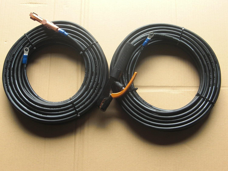 ウエルダー用キャプタイヤケーブル安全ホルダー側10mとアースグリップ側10mのトータル20mジョイントなし溶接機用  B00BTUHBDY
