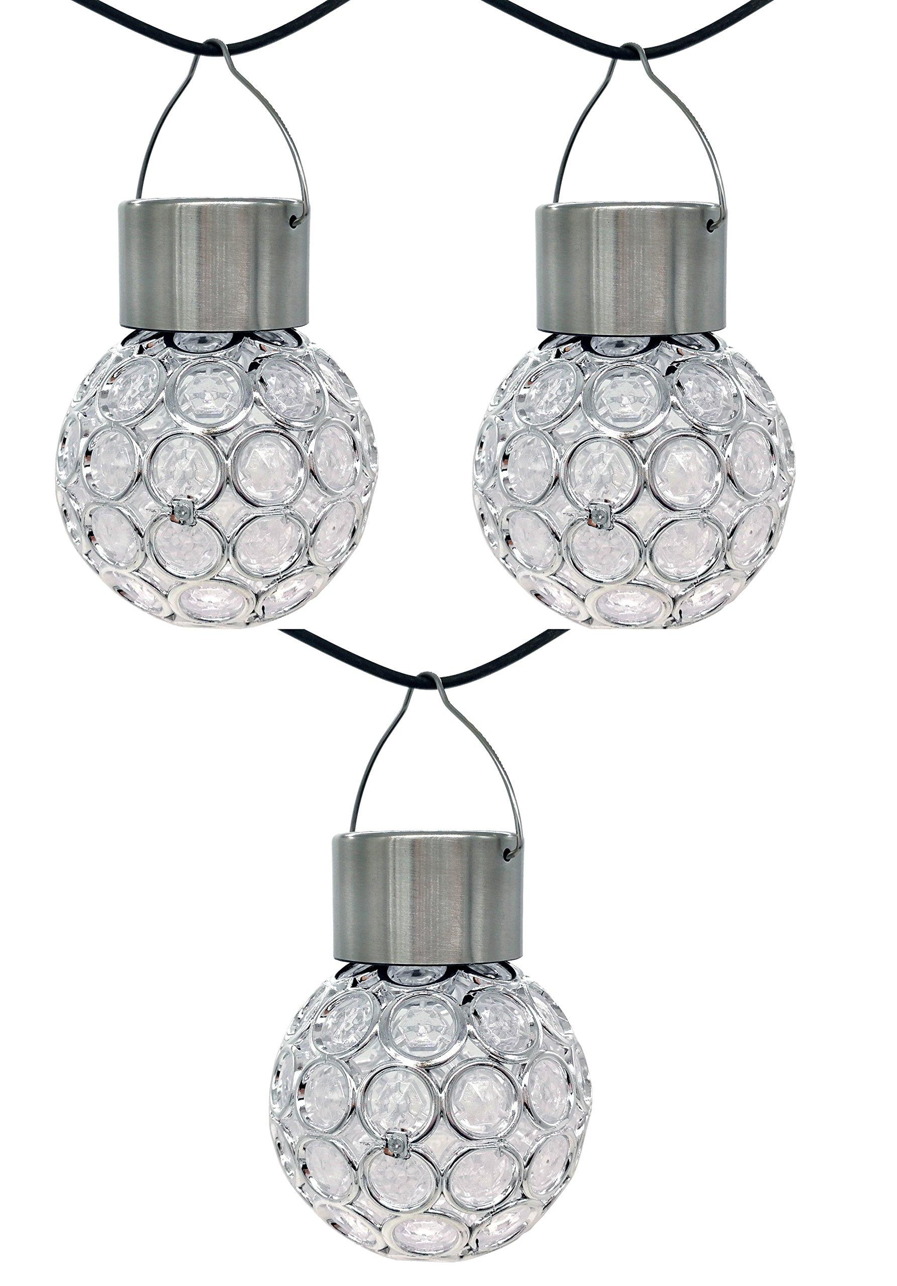 Elsse Solar Outdoor Stainless Globe Hanging Led Light Hanging Patio Lantern Ball Garden Landscape Solar Lamp - 3 Pack