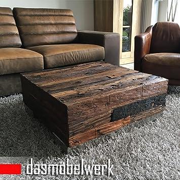 Couchtisch rustikal antik  dasmöbelwerk Massivholz Recycling Holz Antik Look Beistelltisch ...