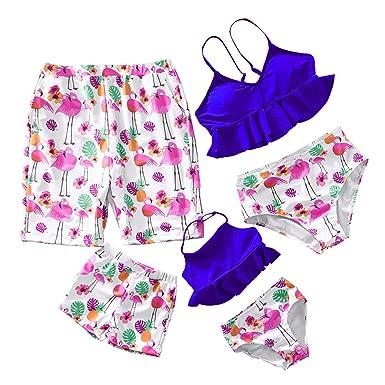 2bfe2321b3 Yaffi Family Matching Two Pieces Bikini Set 2019 Newest Swimwear Mommy and  Me Flamingo Printed Bathing