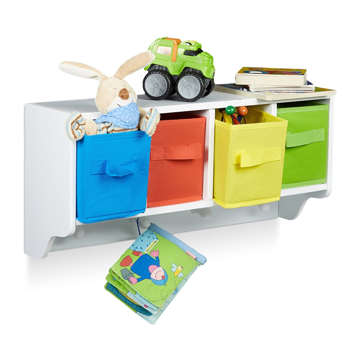 White Shelf with 4 Garment Hooks Childrens Wardrobe with 4 Colorful Folding Boxes Size: ca 28 x 61 x 16 cm Relaxdays Albus Kids Wall Storage Unit