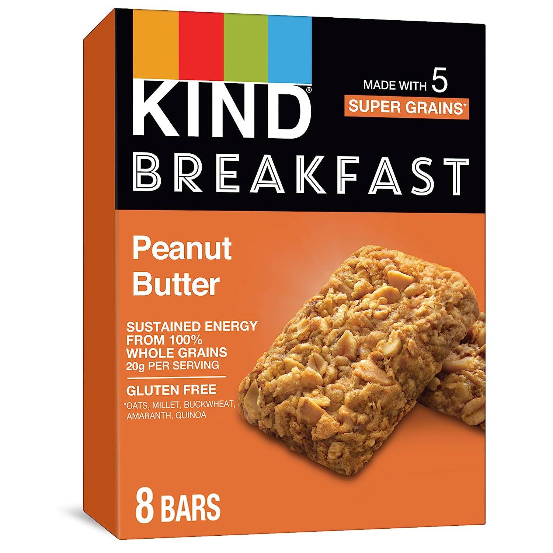 KIND Breakfast Bars, Gluten Free, 1.8 Oz, Peanut Butter, 32 Count (Pack of 32)