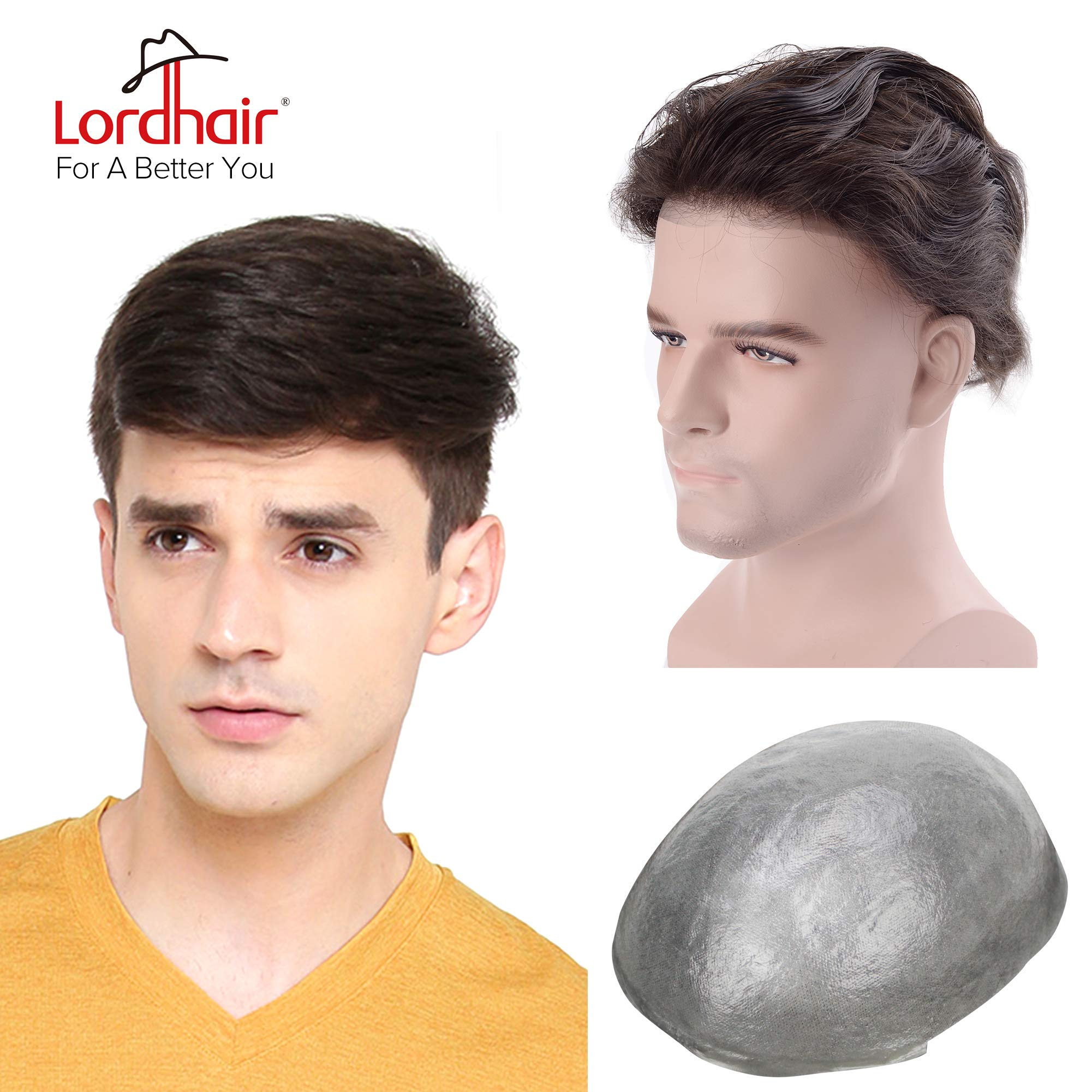 Lordhair Toupee Skin Men's Toupee Human Hair Pieces for Men Natural Hair Replacement Darkest Brown Color 1B (6 Colors Available) by Lordhair (Image #1)