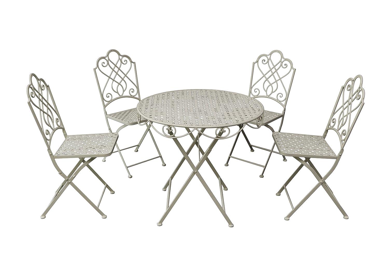 Gardman Gartenmöbel Bistro Set, Klapp-Garnitur für 4 Personen, braun