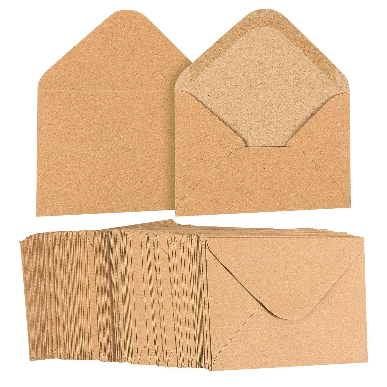 100 pezzi marrone kraft Grocery bag A2 buste per 4 x 5 buste per biglietti di auguri e inviti annunci –  Confezione risparmio Square flap –  4 3/8 inches x 5 3/4 inches&nbs