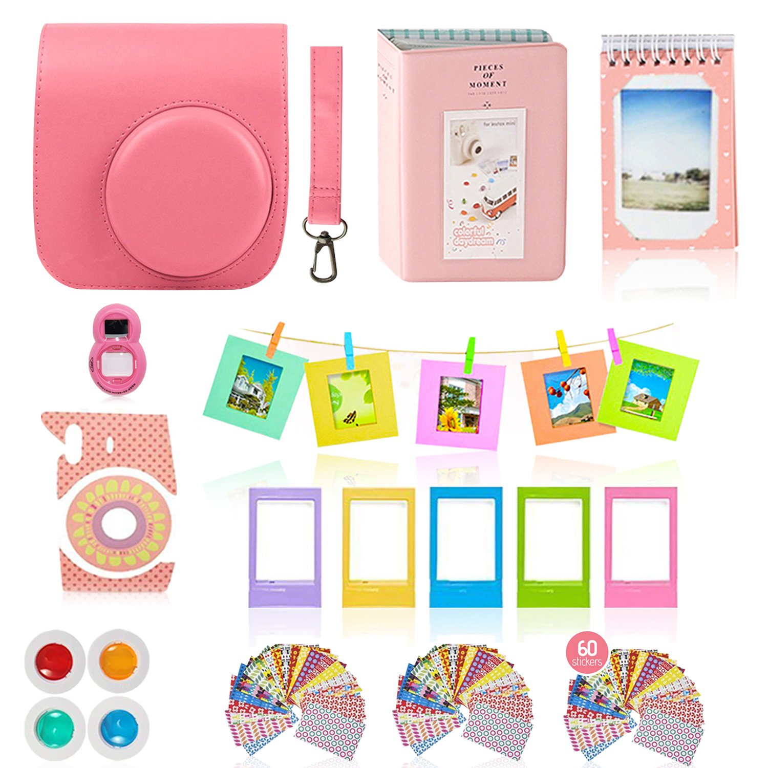 Fujifilm Instax Mini 9 Camera Accessories Bundle, Fuji 11 PC Kit Includes: FLAMINGO PINK Instax Case + Strap, 2 Albums, Filters, Selfie lens, Magnets + Hanging + Creative Frames, 60 stickers, Gift Box by Shutter