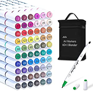 61 Colors Alcohol Art Markers, Lelix 60 Colors Plus 1 Blender Dual Tip Permanent Marker Pens Highlighters Perfect for Kids Adults Artist Drawing Sketching Card Making & Coloring Books