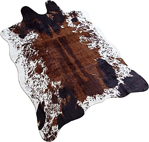 JACCAWS Natural Pattern Tricolor Faux Cowhide Rug Large 4.6ft x 6.6ft – Faux Cow Skin Rug Animal Hide Rugs for Home Office Livingroom,Bedroom. Cow