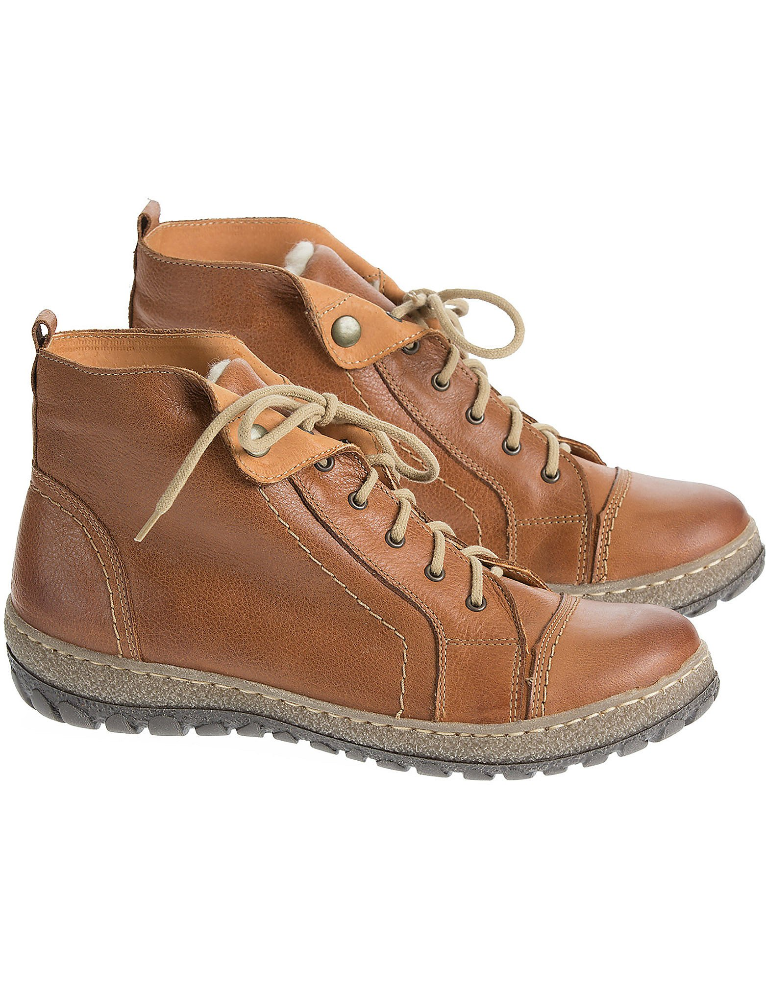 Women's Overland Tucker Wool-Lined Leather Ankle Boots, CAMEL, Size EU41 by Overland Sheepskin Co