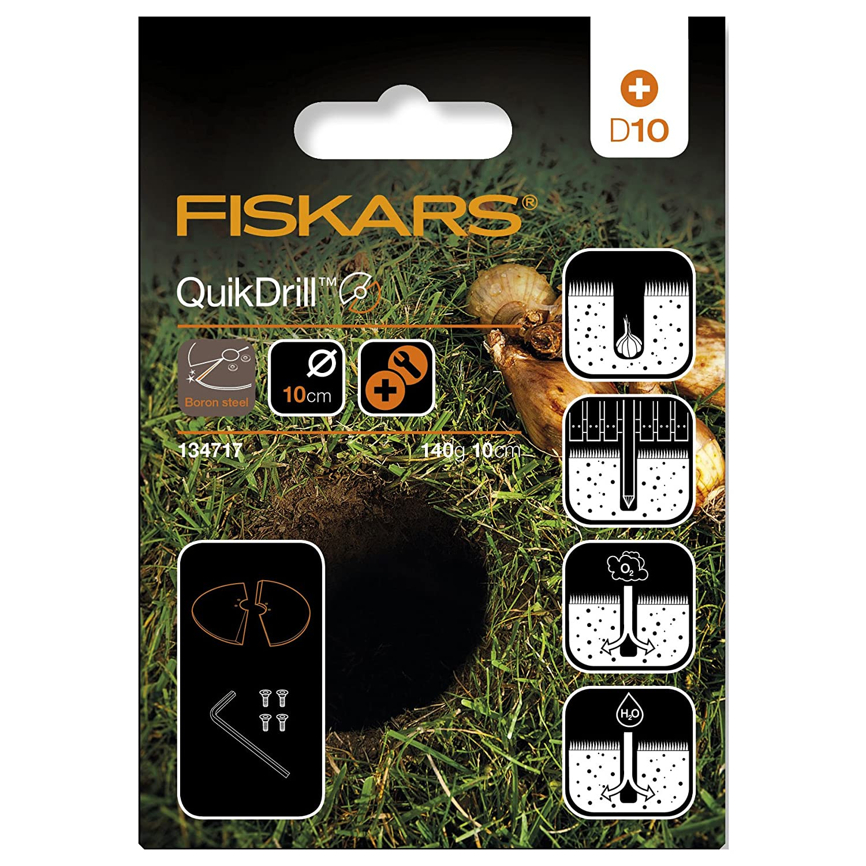 1000636 Holes up to 10 cm diameter Fiskars QuikDrill Garden Drill S Black//Orange