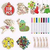 Joyjoz adornos de madera de navidad 50 piezas+8
