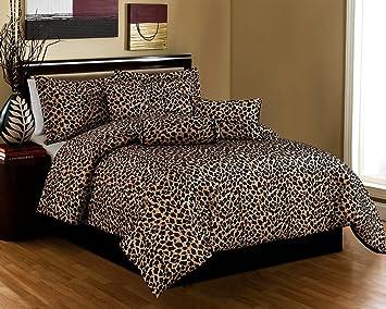Black / Brown Comforter Set Leopard Print Microfur Bed In A Bag California  King Size Bedding