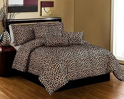 Amazon.com: Grand Linen Black/Brown Comforter Set Leopard Print ...