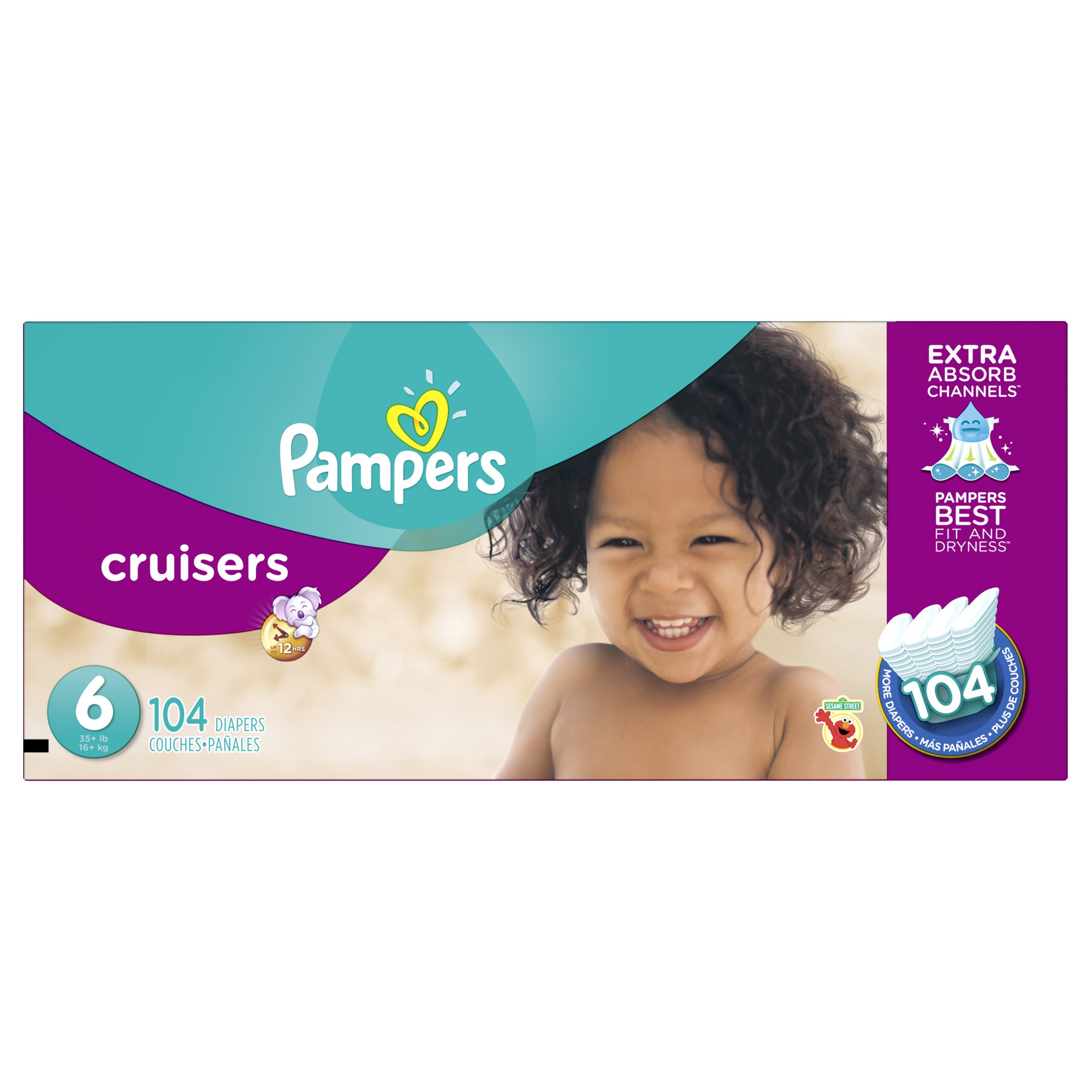 Pampers Cruisers Disposable Diapers Size 6, 104 Count, ECONOMY PACK PLUS
