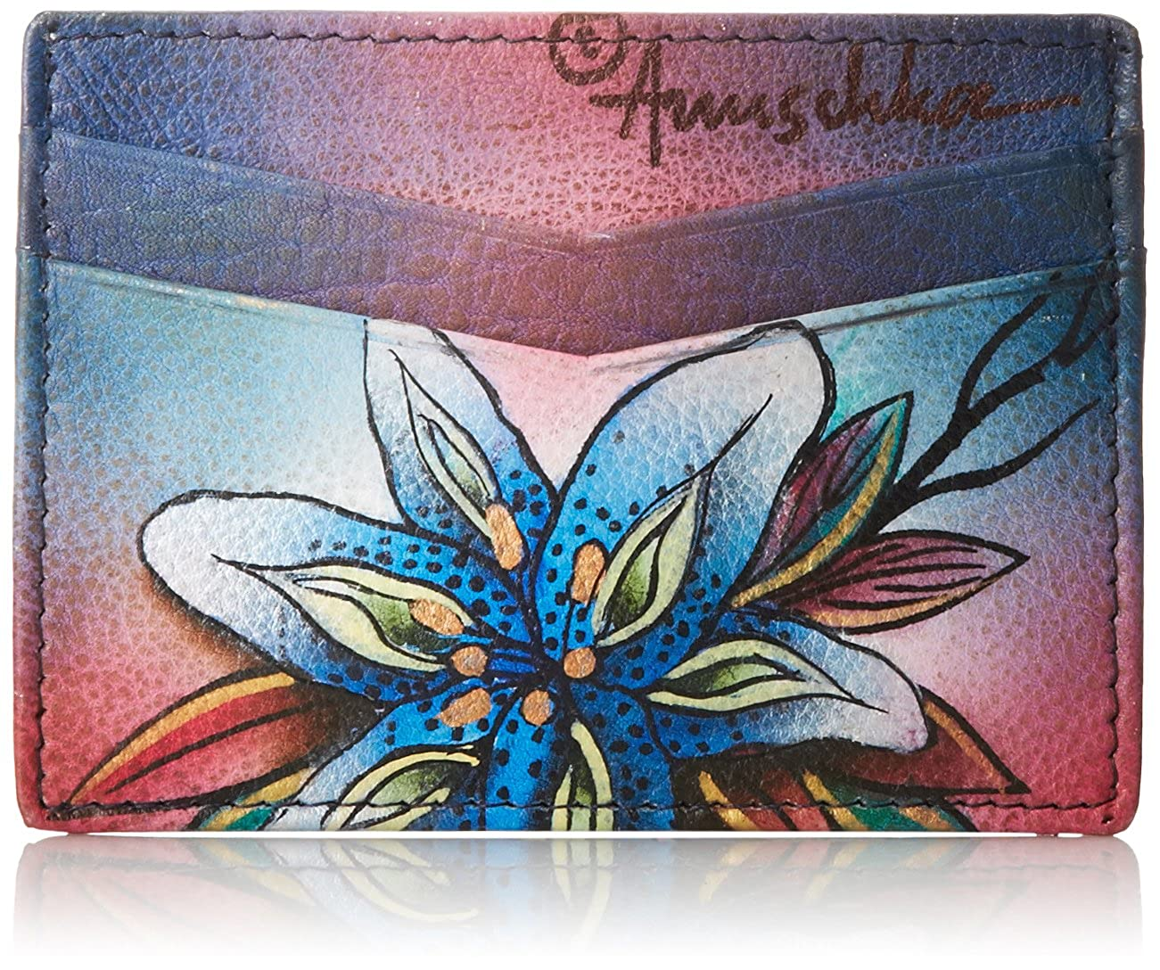 Anuschka Credit Card Case Wallet Dancing Peacock One Size