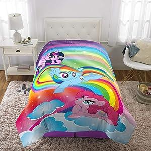"Franco Kids Bedding Super Soft Microfiber Reversible Comforter, Twin/Full Size 72"" x 86"", Hasbro My Little Pony"