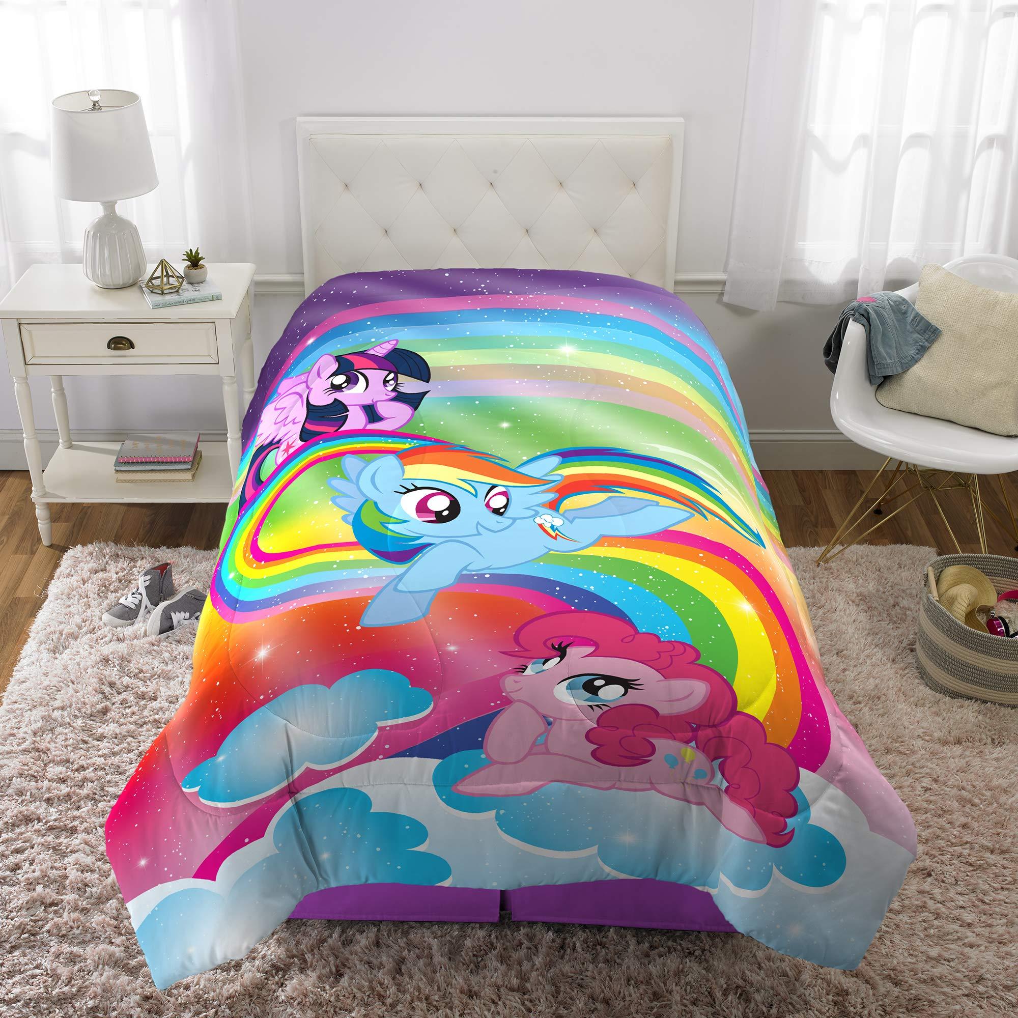 Franco Kids Bedding Super Soft Microfiber Reversible Comforter, Twin/Full Size 72'' x 86'', Hasbro My Little Pony