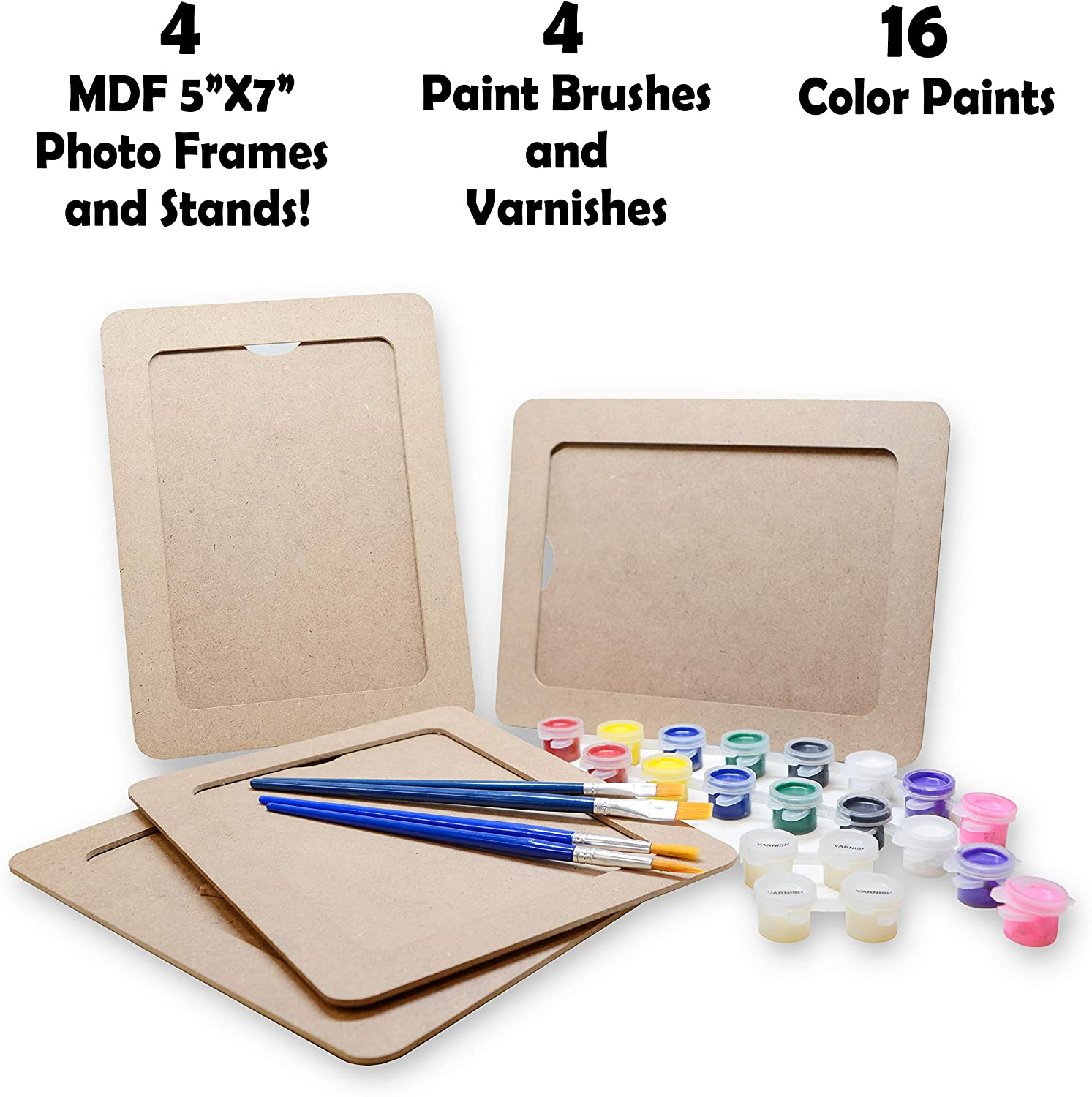 Classroom Arts and Crafts Party Favors for Kids VHALE Paint Your Own Picture Frame 5 x 7 inch 4 Sets of MDF Wood Photo Frames with Stand for Children to Paint and Decorate