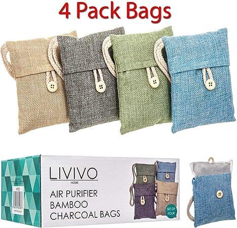 FiNeWaY® Set de 4 bolsas de carbón de bambú Purificación de aire ...