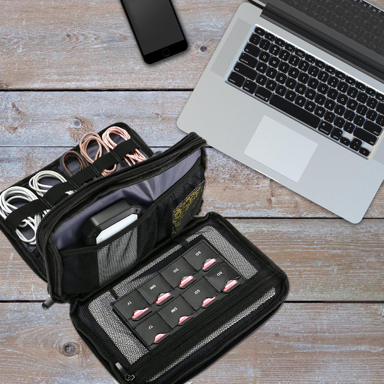 Portatile Tecnica Accessori Elettronici Custodia Trasporto Borsa per Cordone Cavi USB Scheda SD Lettore MP3 Caricabatterie Disco rigido Power Bank Nero ProCase Viaggio Gadget Organizzatore Borsa