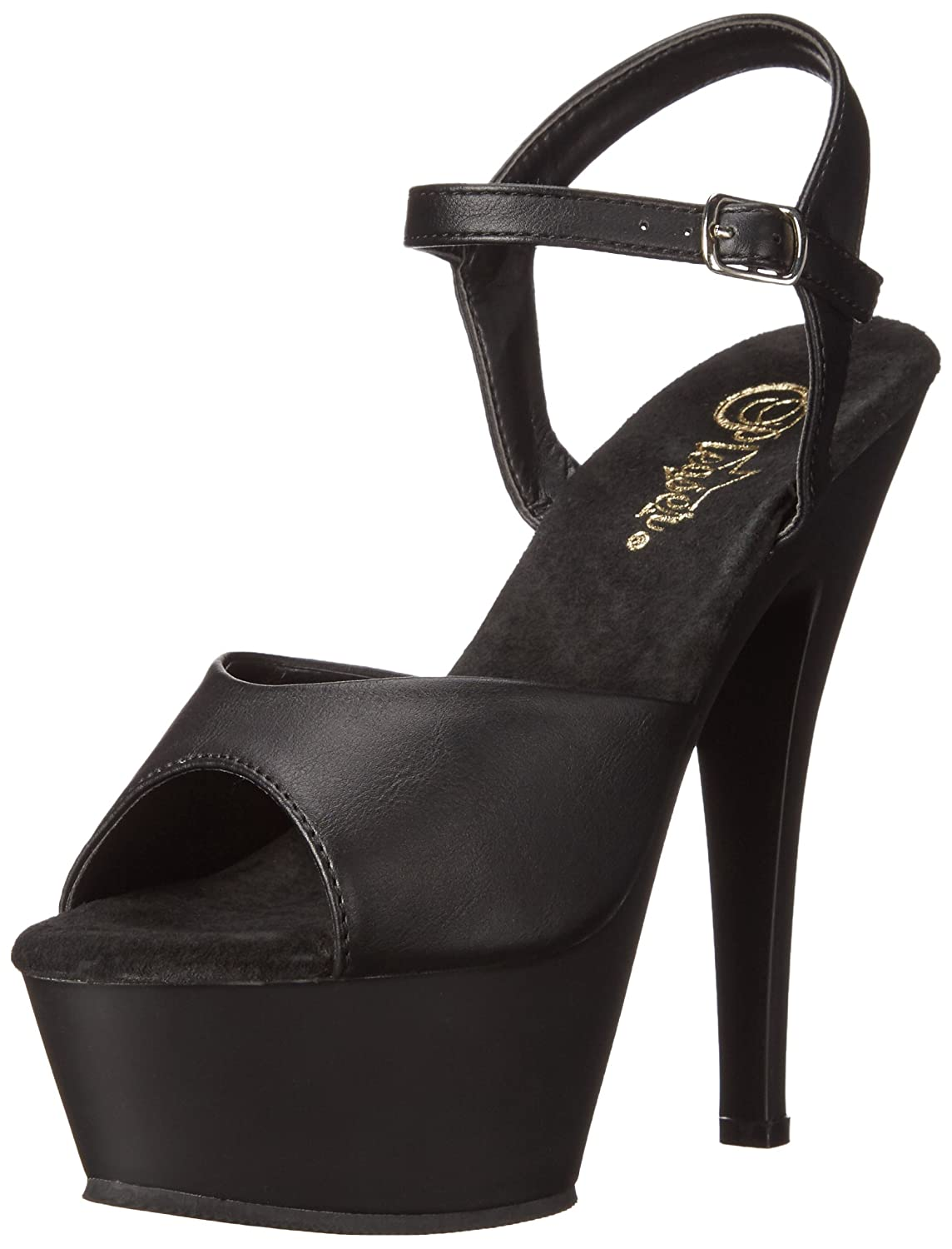Pleaser Women's KISS209/BPU/M Platform Dress Sandal B00QPTIGUG 5 B(M) US|Black Faux Leather/Black Matte