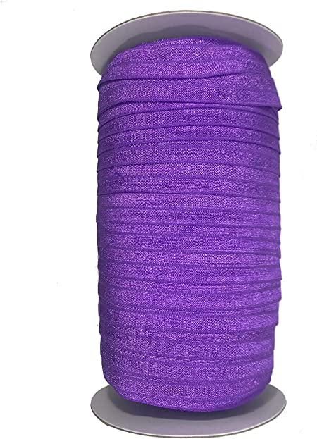 Headband Shiny Elastic DIY Foldover Elastic 58 Fold Over Elastic Elastic by the yard Lavender White Dot FOE