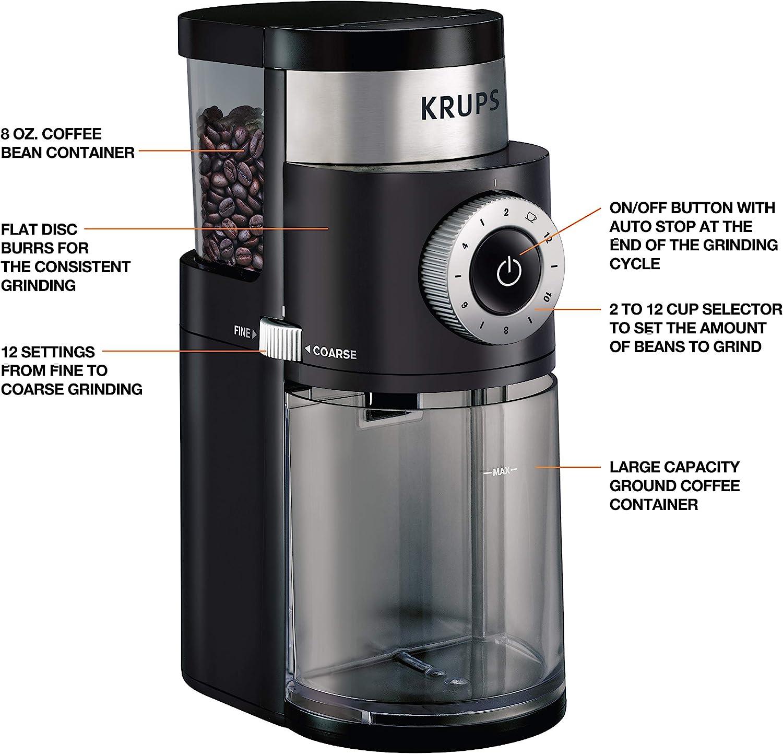 KRUPS Precision Grinder Flat Burr Coffee for Drip/Espresso/PourOver/ColdBrew, 12 Cup, Black