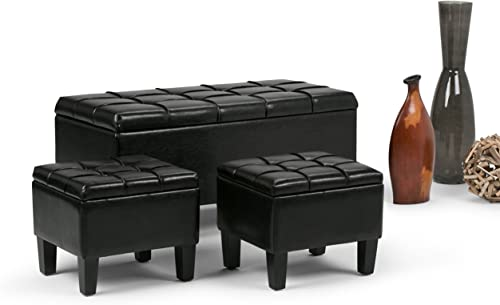 Simpli Home Dover 44 inch Wide Rectangle 3 Pc Lift Top Storage Ottoman in Upholstered Midnight Black Tufted Faux Leather, Footrest Stool, Coffee Table for the Living Room, Contemporary