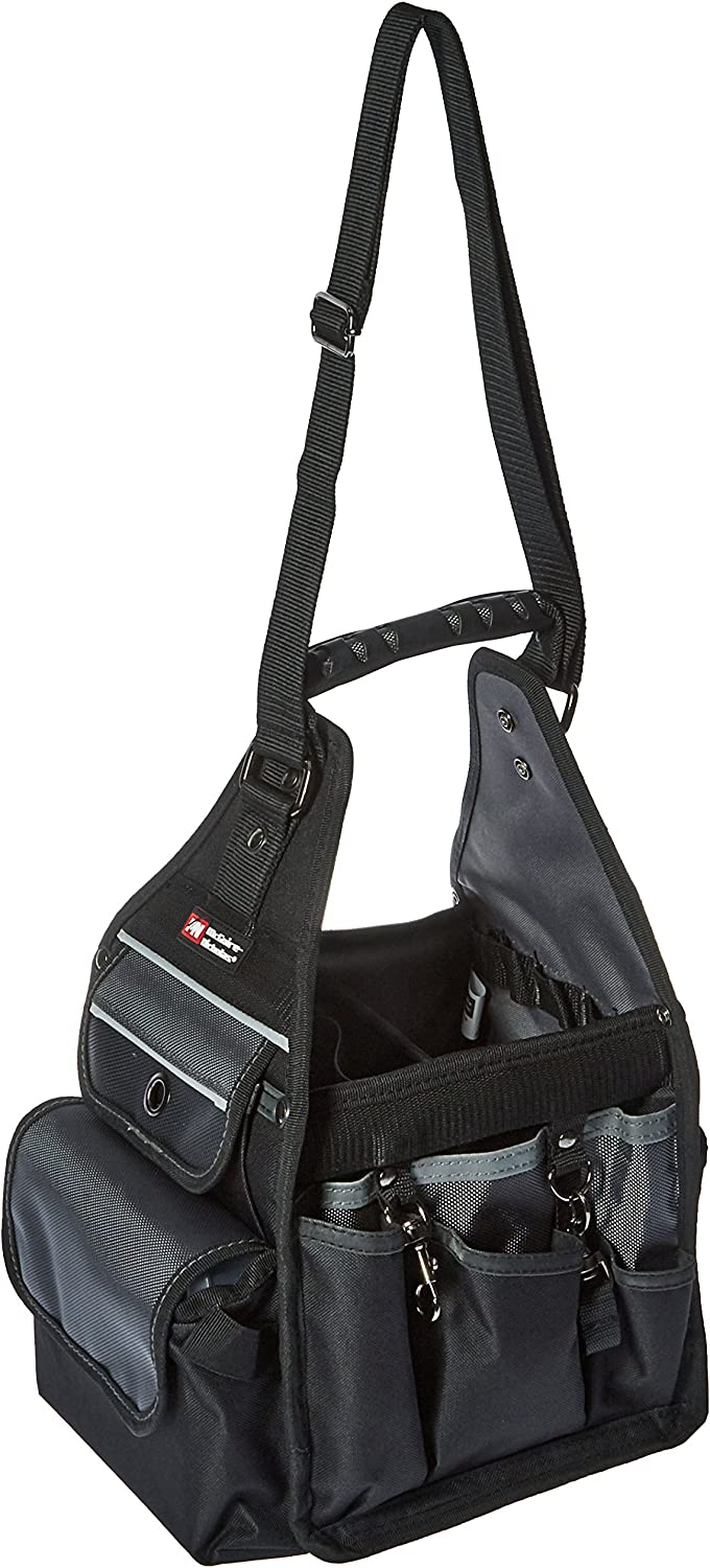 McGuire-Nicholas Electrician's Tote, Easy Carry Tool Bag for Electricians, Multi Pocket and Loop Design for Tools and Electrical Equipment , Black and Silver - MN-22128