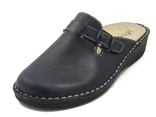 Cinzia Soft Pantofole Donna Linea Sanitaria Comfort in Pelle Blu ... 25a9c99bbea