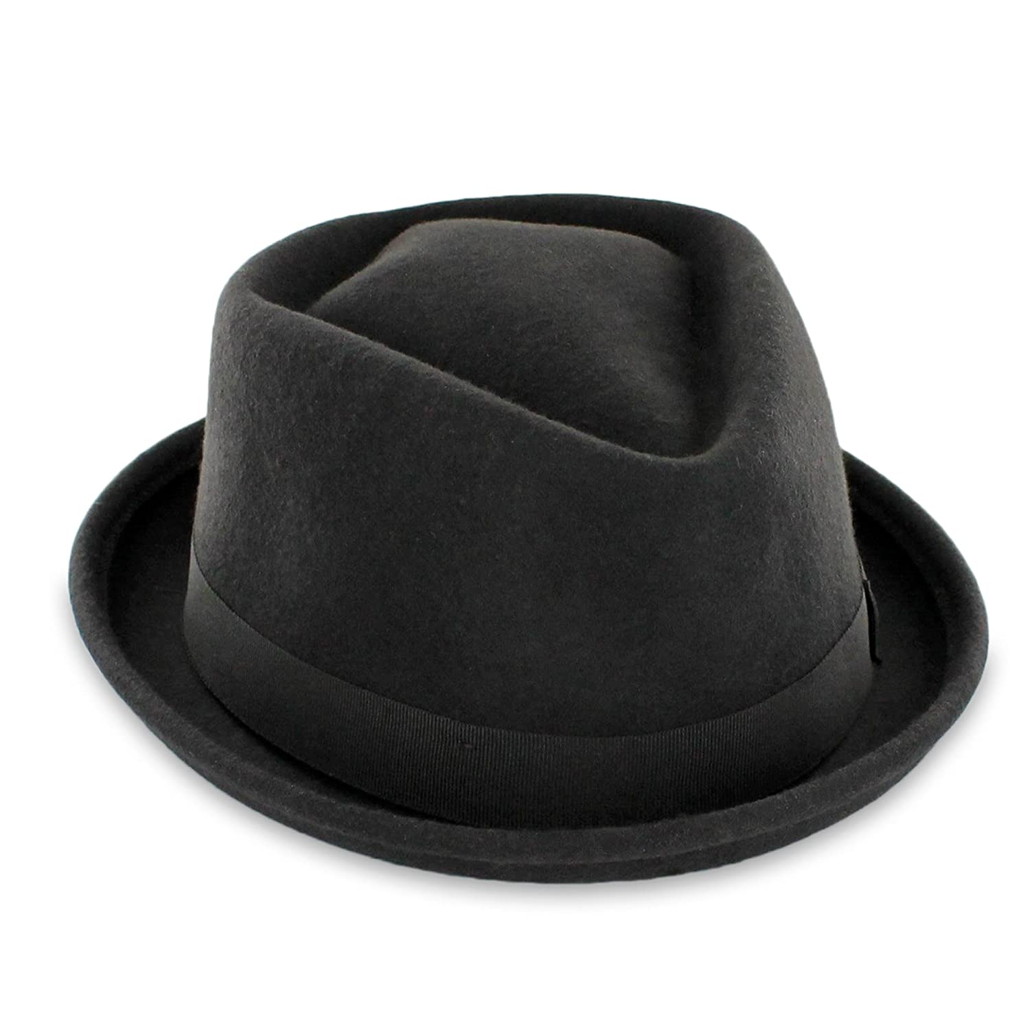 0aed6ac0adf47e Belfry Crushable Porkpie Fedora Hat Men's Vintage Style 100% Pure Wool in  Black Brown Grey Navy Pecan and Striped Band at Amazon Men's Clothing store: