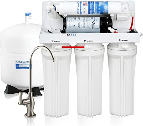 APEC Water Systems RO-PUMP-100V Top Tier Ultra Safe Reverse Osmosis Drinking Water Filtration System with with US Made Booster Pump For Japan