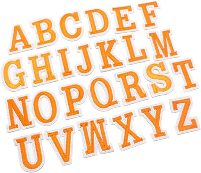 Naranja Capital letra Inglés alfabeto bordado para planchar gamuza ...