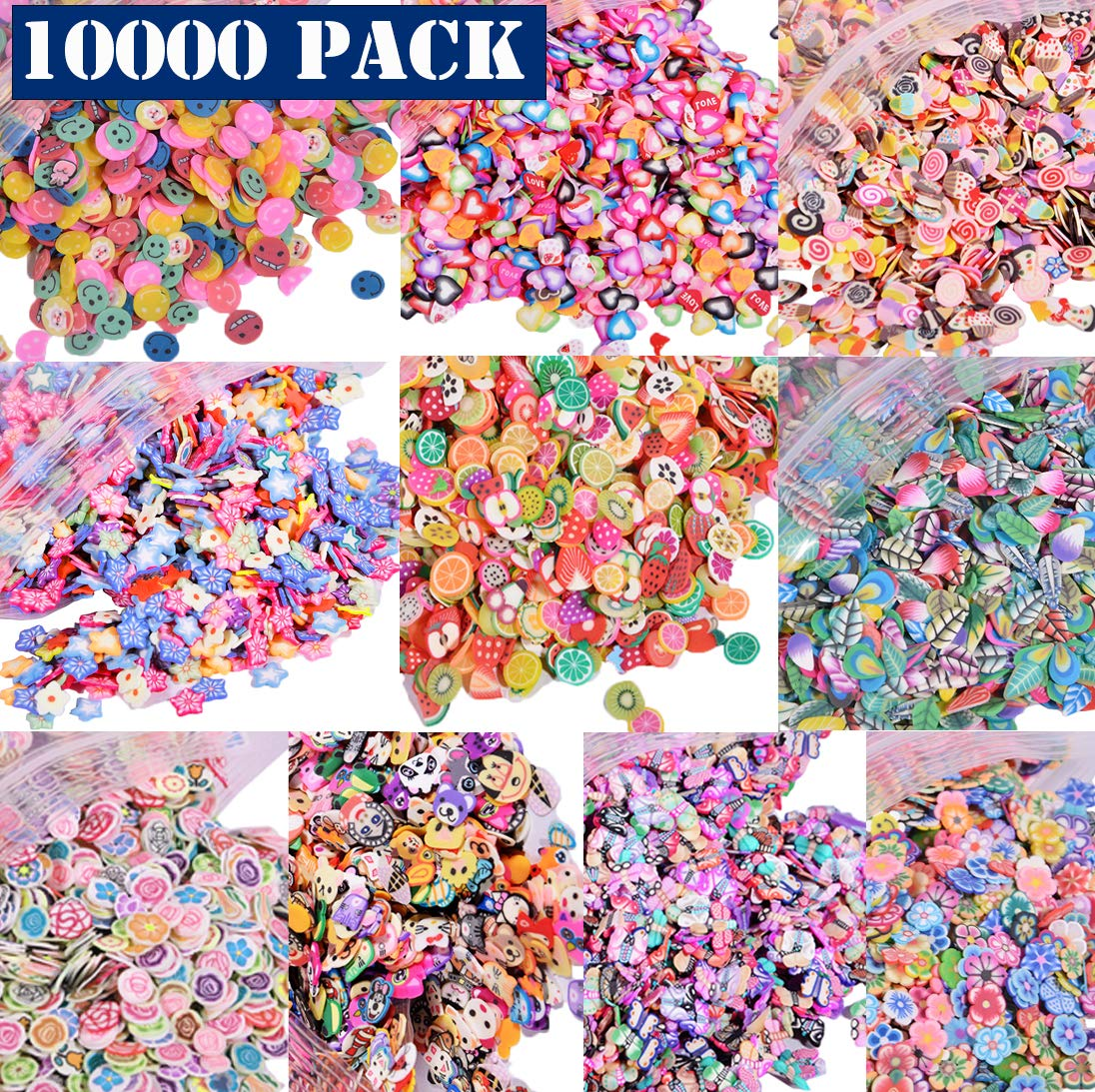 40 Pack Slime Making kit, Including 10 Pack Color Foam Balls, 10 Pcs Slime Containers, 12 Bottles Glitter Powder,3 pcs Fishibowl Beads, 5 Pcs Glue Mixing Spoons for Slime Making Craft Ehope