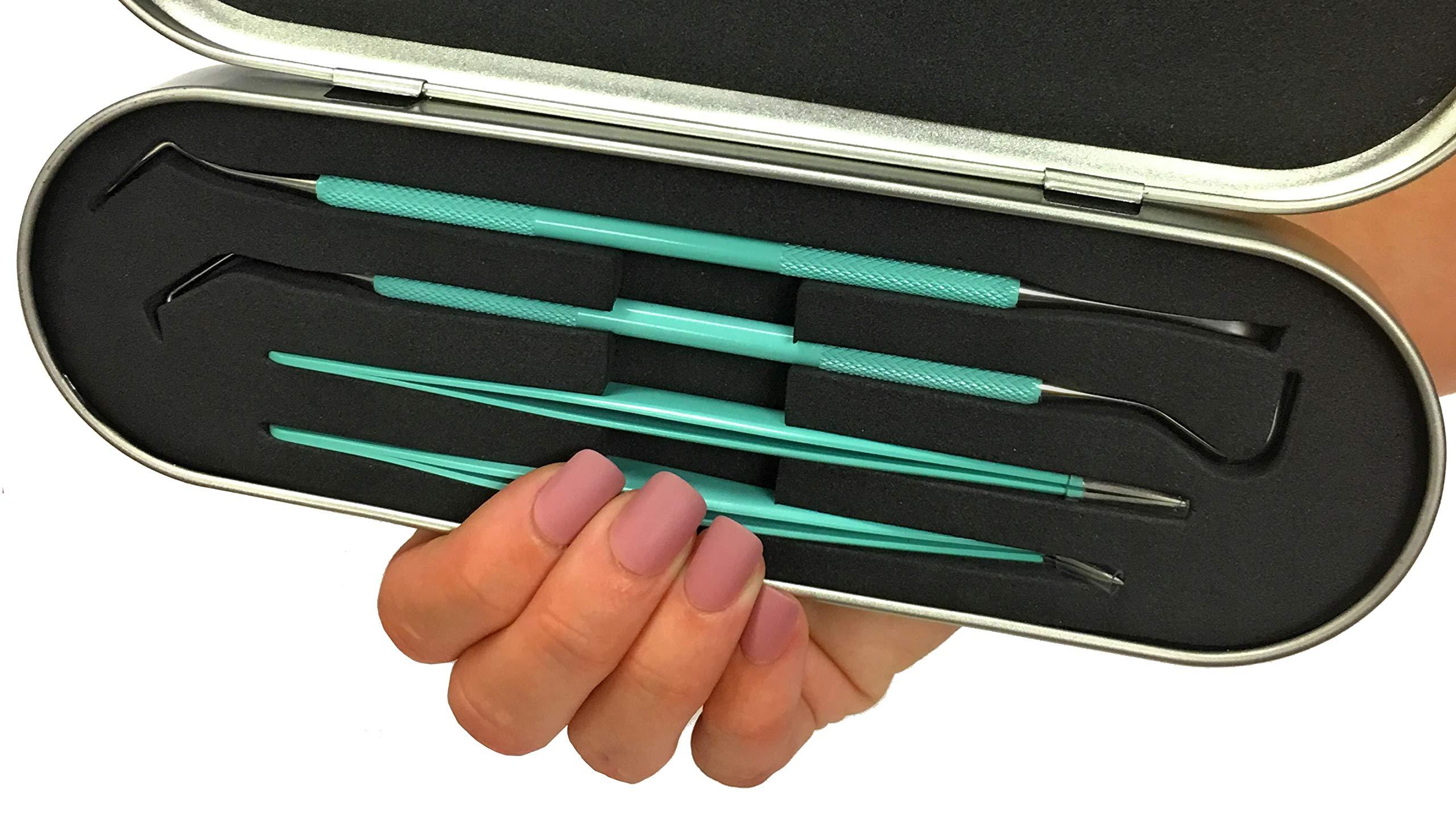 Premium Vinyl Weeding Tool Kit - Precision Stainless Steel Weeder - Hook and Pick with Fine Tweezers Crafting Set - by iVyne