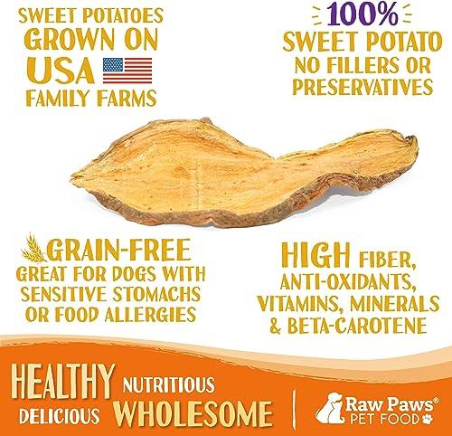Raw Paws Natural Sweet Potato Dog Treats, Chips – Made in USA – Grain Gluten-Free, Human Grade, No Preservatives, Vegan, Vegetarian Dog Treats – Healthy, Dried, Chewy Dog Sweet Potato Chews