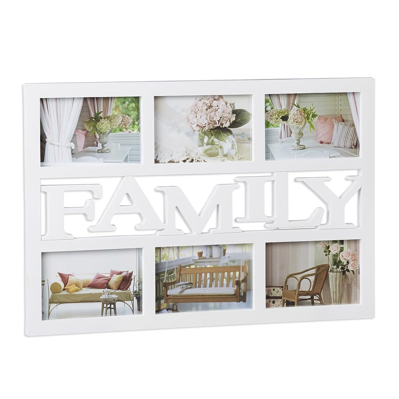 Relaxdays Cadre photos pêle-mêle 6 photos Galerie collage cadre mural Family famille 33 x 48 cm, noir 10021951_46